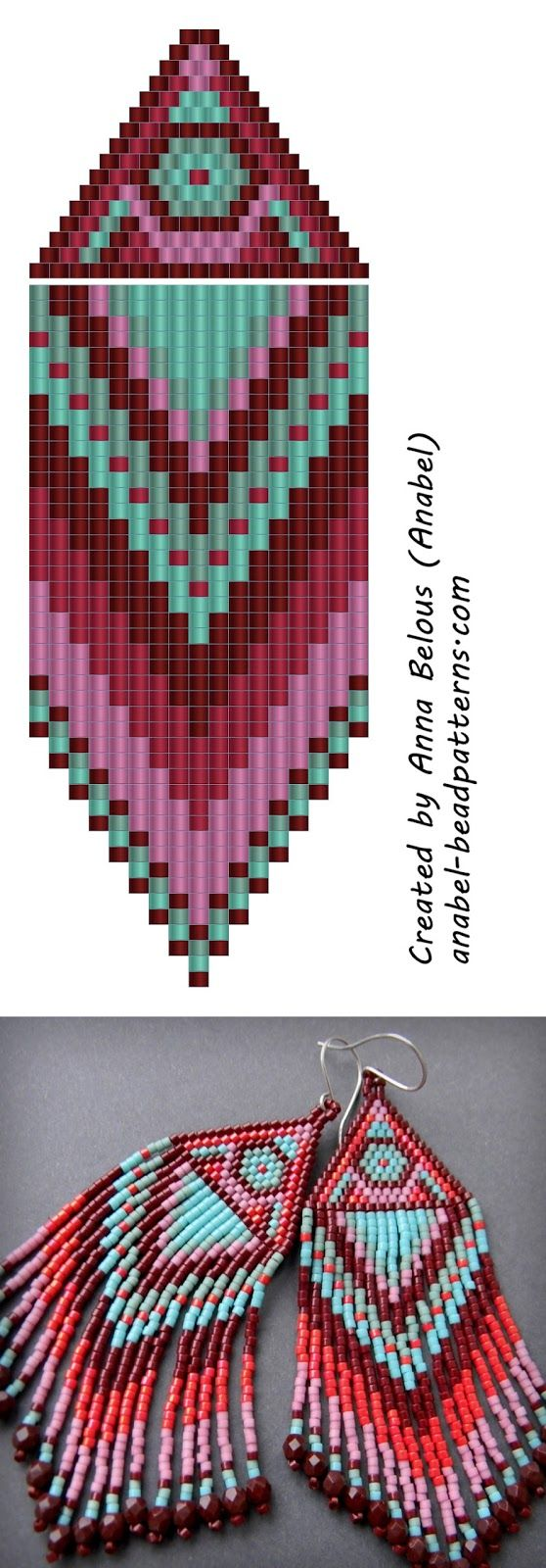 Схема ярких серег - seed bead earrings pattern - peyote earrings with fringe