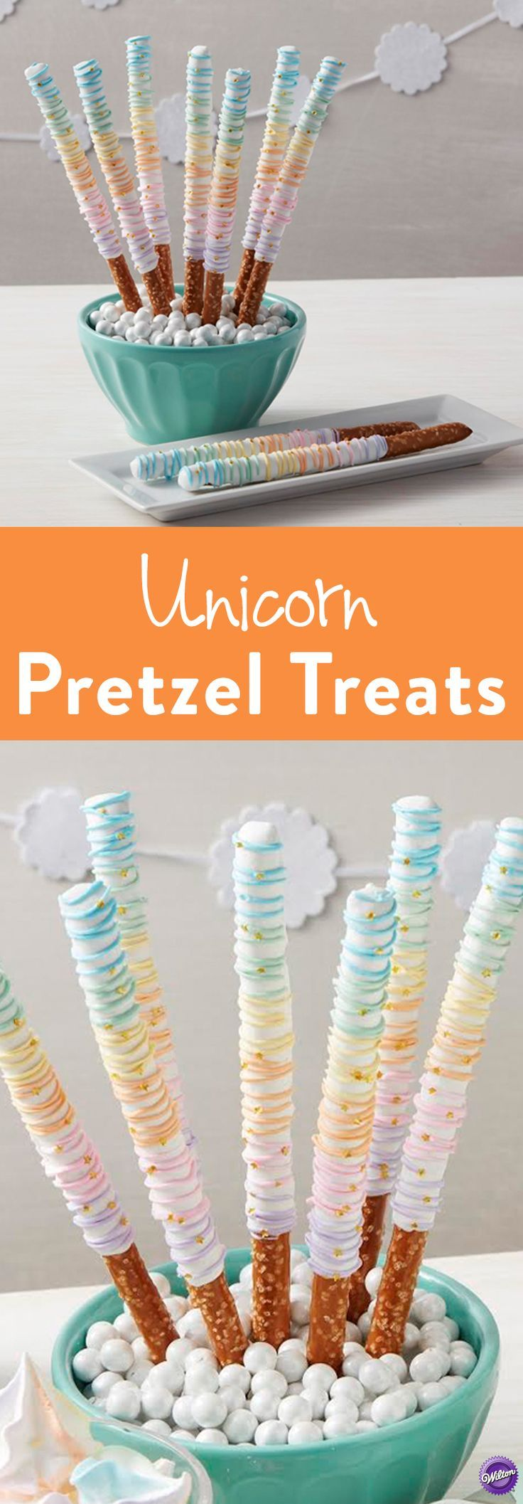 Rainbow Unicorn Pretzel Treats - Wands and swords have nothing on these Candy…