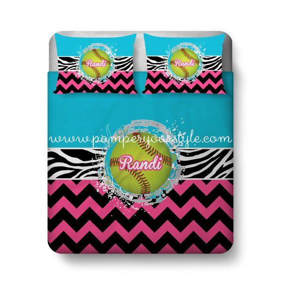 softball custom bedding chevron and softball by pamperyourstyle