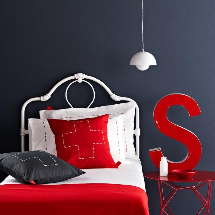 Great contrast. Mr Price Home bedroom inspiration. Salvation Jane. Red, Grey