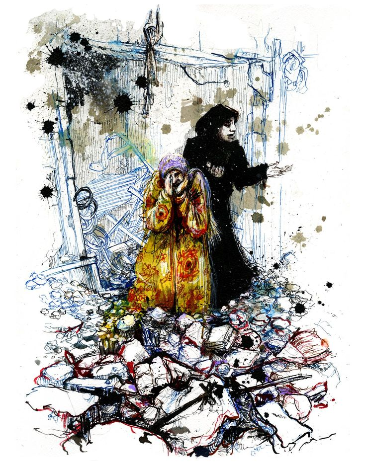 The shock just after the barrel bombing. Women grieving their losses, in the Ferdous neighborhood. Illustration by Molly Crabapple