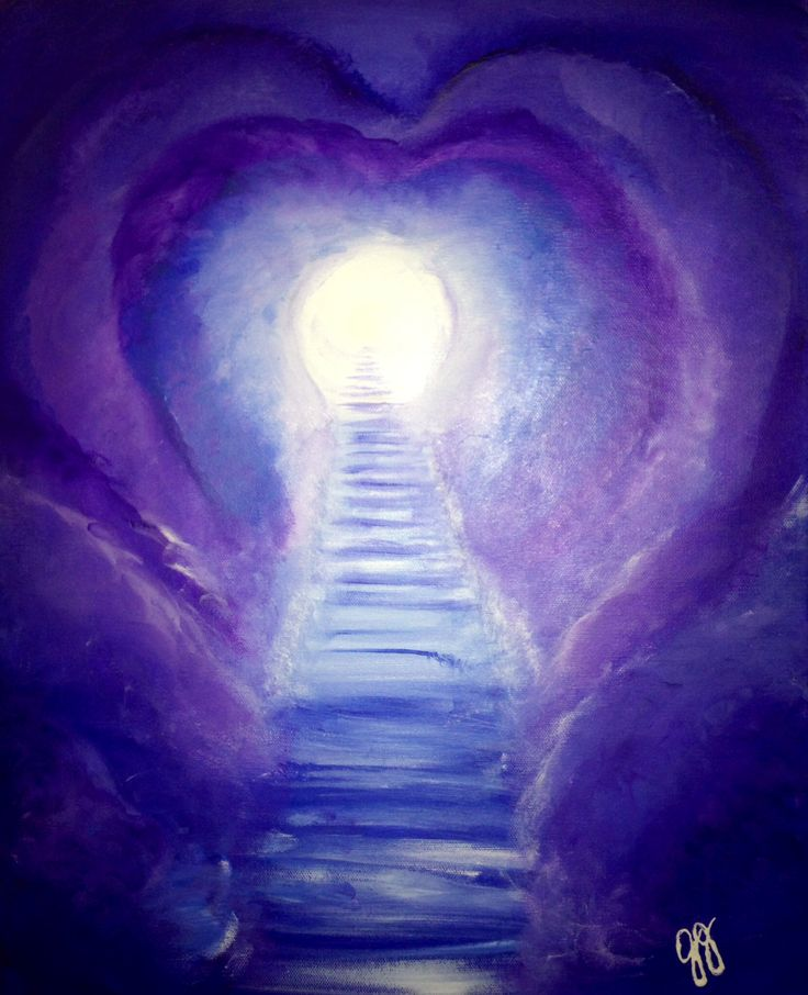 Unearthly Realms, prophetic art painting, Purple Heart tunnel and stairs to light.