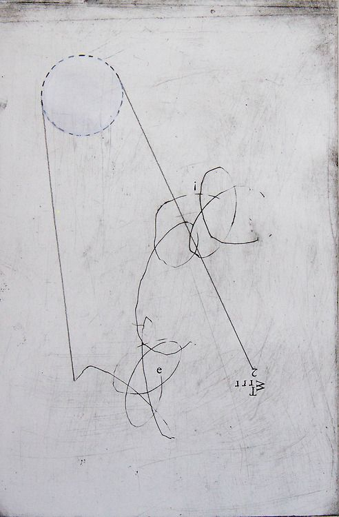 trajectory semiotic. (2014). Drypoint etch, drawing and acrylic.