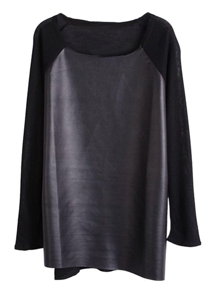 Black PU Spliced Long Sleeve T-shirt   Choies