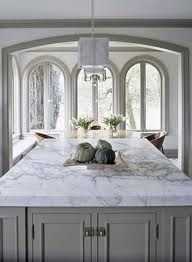 white granite countertops that look like marble - with gray cabinets