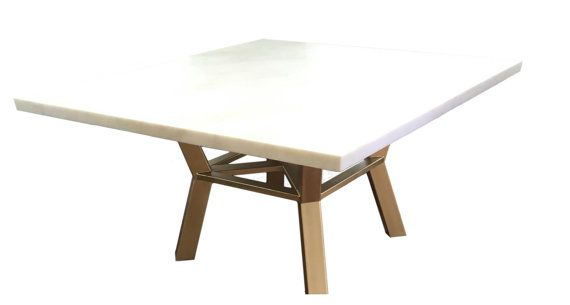 Square Pedestal Dining Table with Gold Base by Kobrafurniture