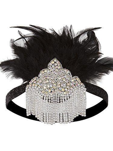 Vijiv Black Silver 20s Headpiece Vintage 1920s Jewelry Flapper accessories Great Gatsby Headband