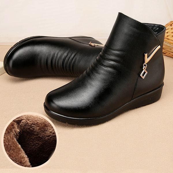 Boots Women Winter Leather Keep Warm Plush Flat Ankle Boots
