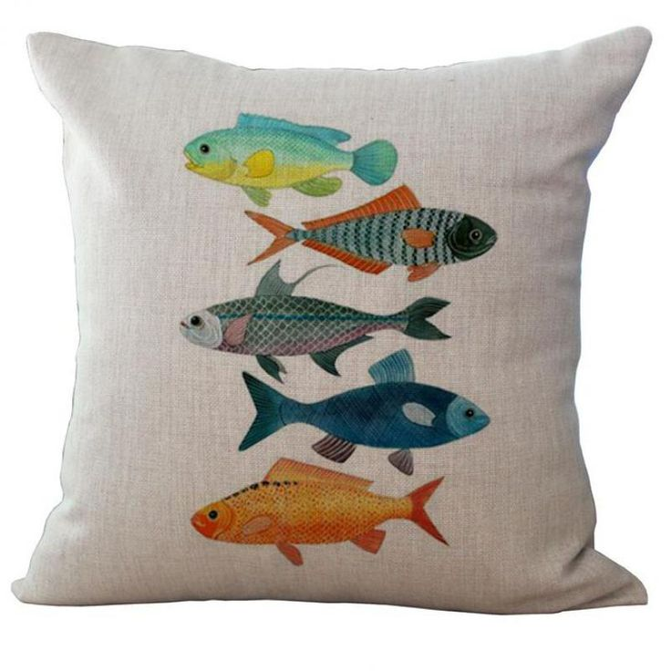 2016 Factory Direct Supply Mediterranean Series Marine Fish Printing Linen Throw Pillow Cushion For Children Holiday Gift(China (Mainland))