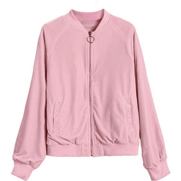 Velvet Zip Up Pilot Jacket ($31) ❤ liked on Polyvore featuring outerwear, jackets, velvet jacket, pink jacket, zip up jackets and pink zip up jacket