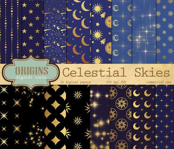 Celestial Skies Digital Paper by Origins Digital Curio on Creative Market