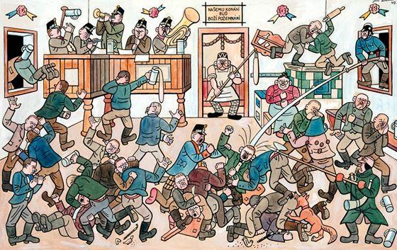 Josef Lada: Painting: Fighting in the village pub