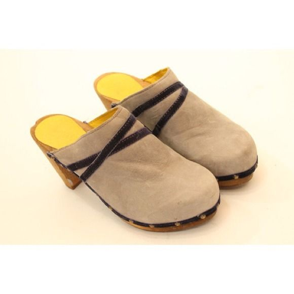 Sanita leather clogs Great pair of grey nubuck leather Tanya clogs, velvet strips across the top and around the edges. Brass studs around the leather. Wooden soles, stained for protection. Perfect for fall! Sanita Shoes Mules & Clogs
