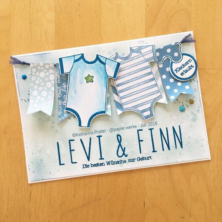 Dieses Foto habe ich gerade bei Instagram gepostet: Hier ist sie, die gesamte Karte zur Geburt der Zwillinge Levi & Finn. #papierwerke #sta...