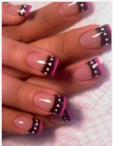 Nail art, black tips, black and pink tips,