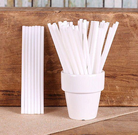 "White Plastic Lollipop Sticks - 4.5"" (100)"