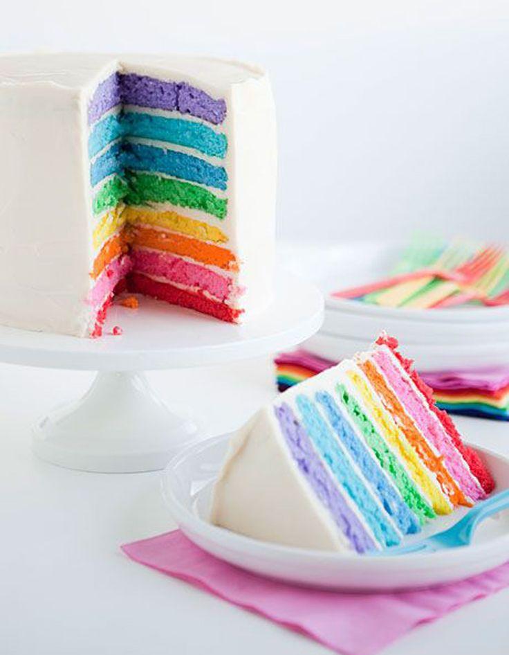 Recette Rainbow cake : La génoise. Mixez 4 œufs et 300 g de sucre. Incorporez 180 g de beurre puis, en alternance, d'une part 450 g de farine tamisée, 2 sa...