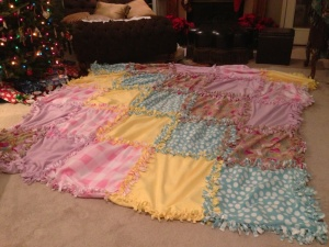 How-to No Sew Fleece Quilt this is the story of the 10x10 foot blanket