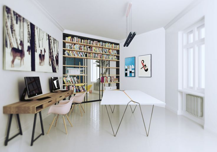 place for work, bookshelves as wall, eames chair, posters from bauhaus, i took the picture of roe deers in 2010