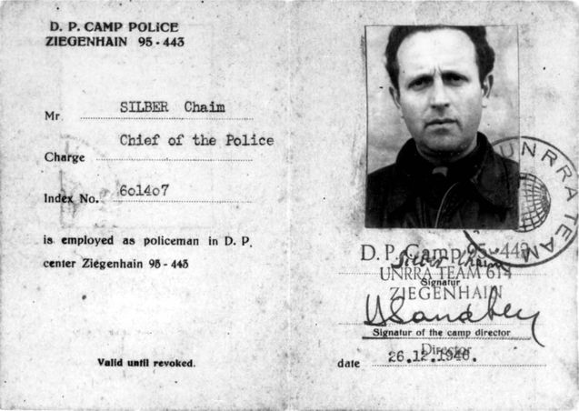 Ziegenhain, Germany, A DP police identity card belonging to Chaim Silber