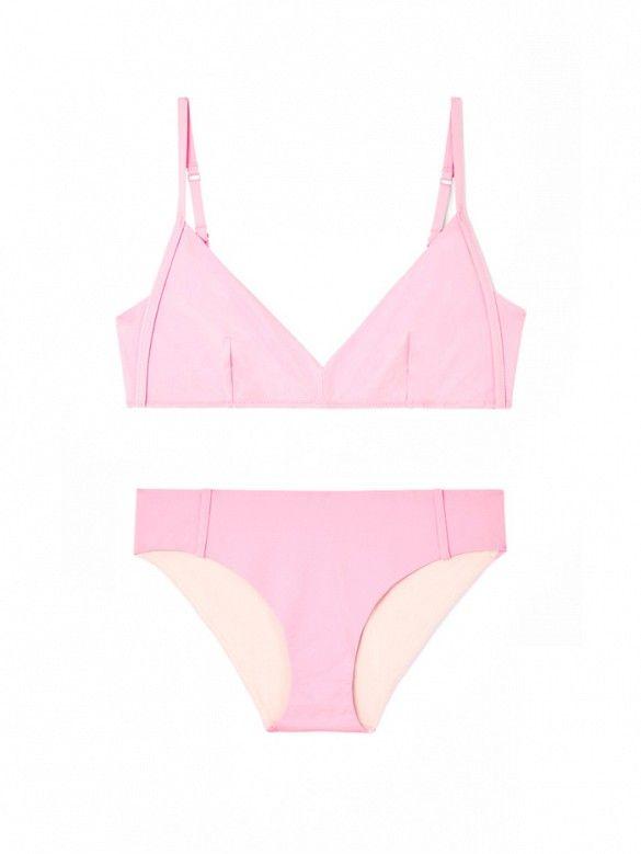 COS Topstitch Bikini Top and Topstitch Bikini Bottom in rose pink.