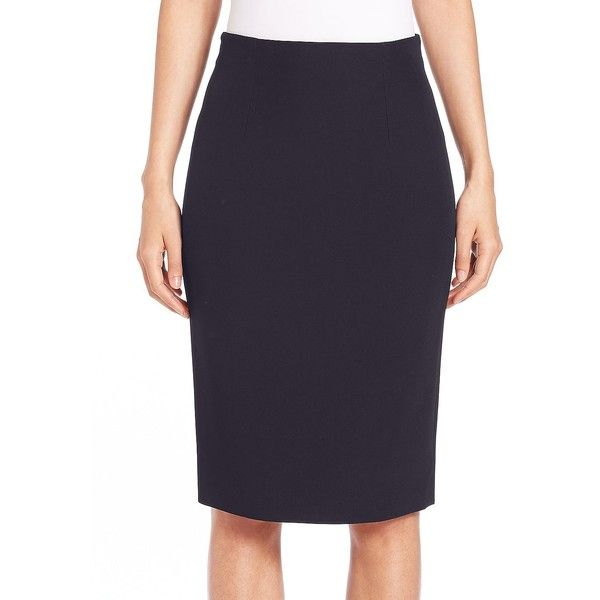 Alexander McQueen Women's Crepe Pencil Skirt ($575) ❤ liked on Polyvore featuring skirts, navy, navy blue skirt, crepe pencil skirt, alexander mcqueen, knee length pencil skirt and navy blue long skirt