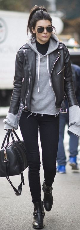 Who made  Kendall Jenner's aviator sunglasses, leather jacket, ankle boots, handbag, and skinny black jeans?