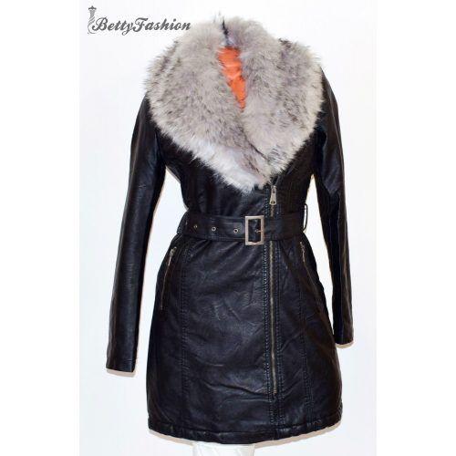 60ba331323 Szürke szőrme galléros fekete műbőr kabát S , M, L, XL, XXL | Kabát ...