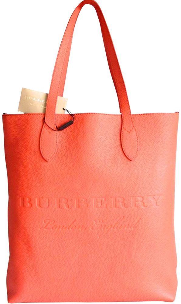NWT BURBERRY REMINGTON LEATHER TOTE BAG ORANGE Orange Bag 0f2ead4299c27