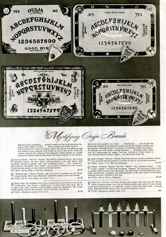 selection of ouija boards 1944 wards christmas catalog - Halloween Catalogs