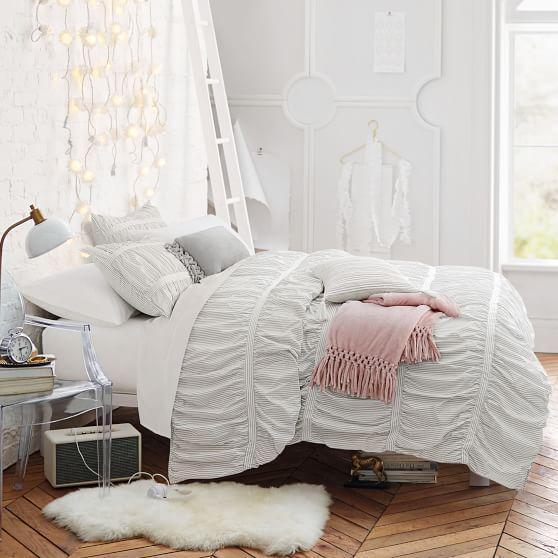 Painterly Stripe Pucker Up Comforter + Sham