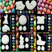 Easter Plaster of Paris and Paint Sets. Contains multiple plaster of paris Easter shapes with a 6 strip paint set and paint brush. Lets be creative and let the kids paint their Easter Plasters instead of filling up on chocolate.