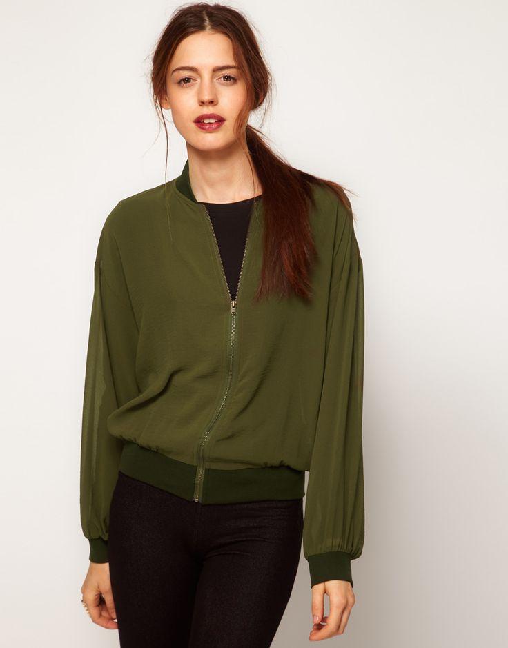 Куртка-бомбер женская хаки