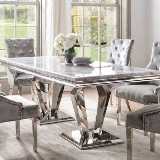 Arlesey Marble Dining Table Rectangular In Grey With Stainless Steel Legs Will Definitely Give Your Dinin Dining Table Marble Glass Dining Table Marble Dining