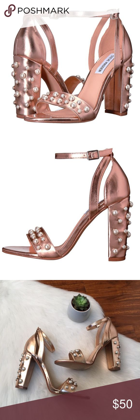 """Steve Madden """"Madeira"""" Rose Gold Studded Sandals Steve Madden """"Madeira"""" Rose Gold Studded Sandals   Brand new without box!  Women's size 8  Measurements: Heel 3.5 inches & platform 1/4 inch   ✨Synthetic upper with pearl embellishments  ✨Buckle closure @ ankle  ✨Single toe strap  ✨Synthetic insole & lining   No try ons or trades! Any questions please ask 💕 Steve Madden Shoes Heels"""