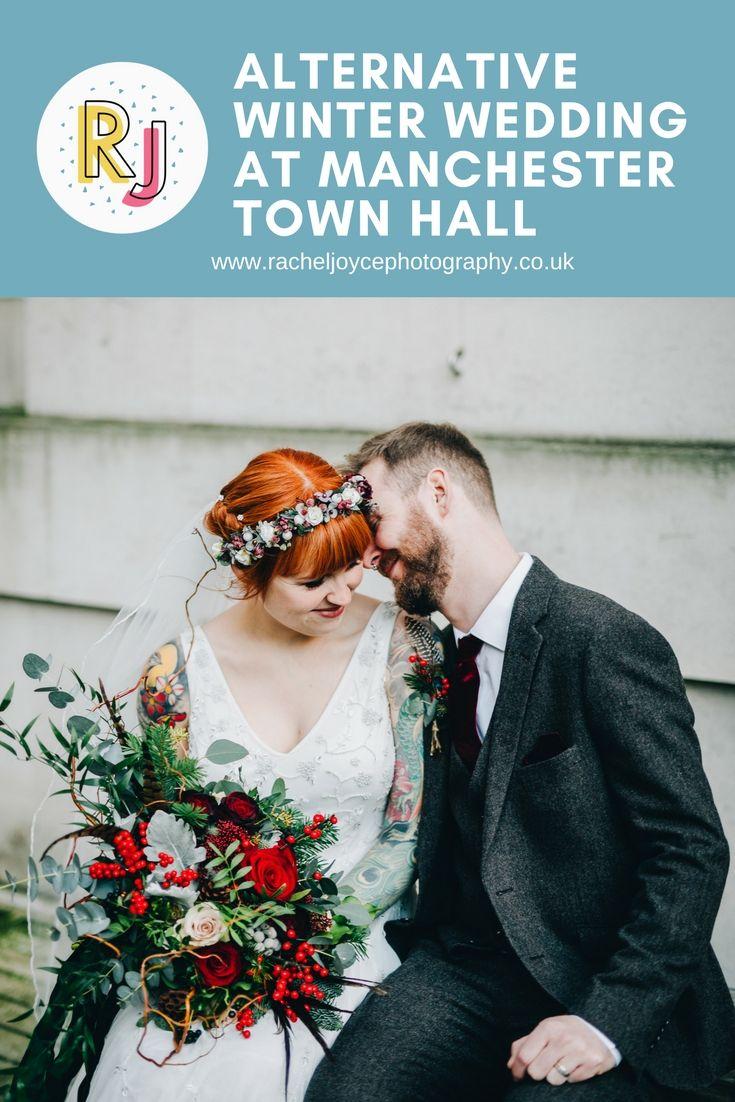 Alternative winter wedding at Manchester Town Hall.  #ManchesterTownHall #AlternativeWedding #WeddingInspirations #RomanticWedding #Colourfulwedding