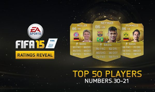 #FIFA15Ratings - A look at numbers 30-21 of the 50 highest rated players