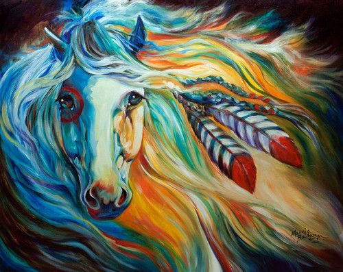 From My Series 2013 INDIAN WAR HORSE New Original Oil Painting In Online Store