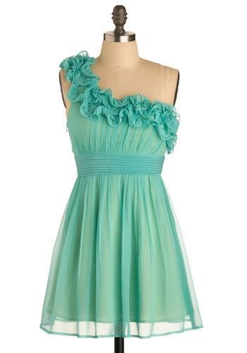 Aqua one shoulder dress.  Really cute for a beach wedding bridesmaid
