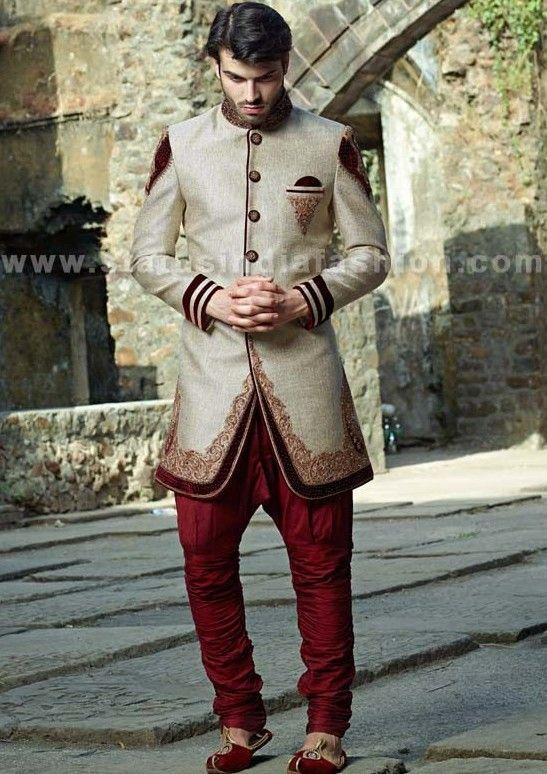 Mens wear, groom wedding dress, groom sherwani, designer indo western, bright color indowestern, indian wedding wear, royal wedding indowestern www.statusindiafashion.com