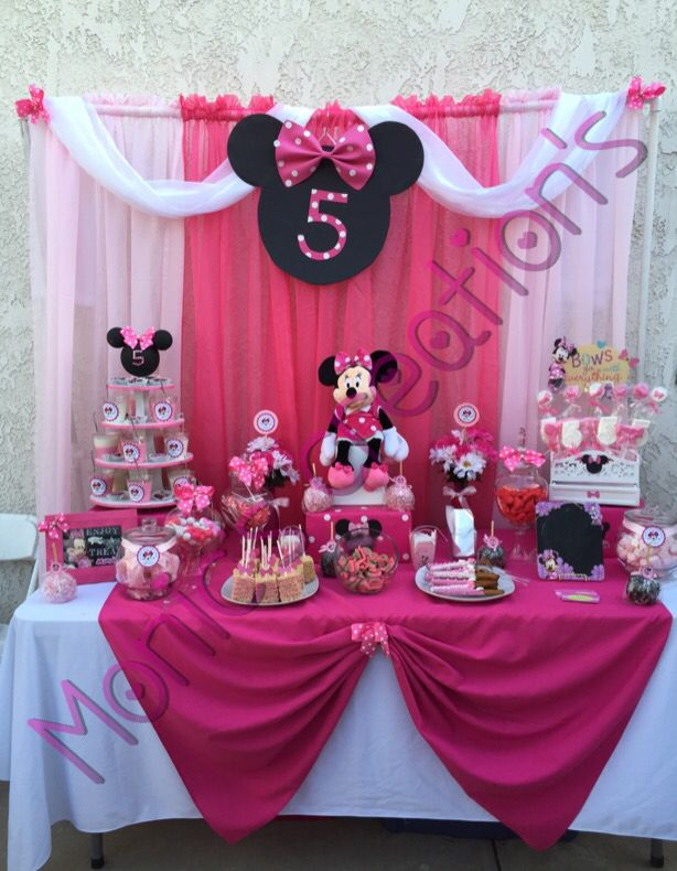 Minnie Mouse candy buffet . By Monic's party creations......