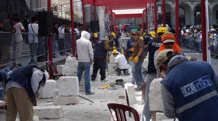 AREQUIPA. Continua concurso de sillar y fierro forjado en la plaza de armas http://hbanoticias.com/11342