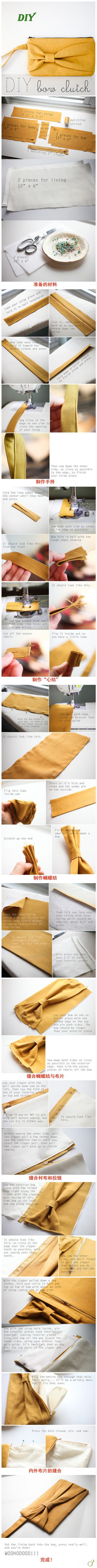 How to make a bow clutch - tutorial... I think i'm going for the matching set of yellow bow on my sewing board (check it out! Cute matching scarf and ear warmer tutorials!)