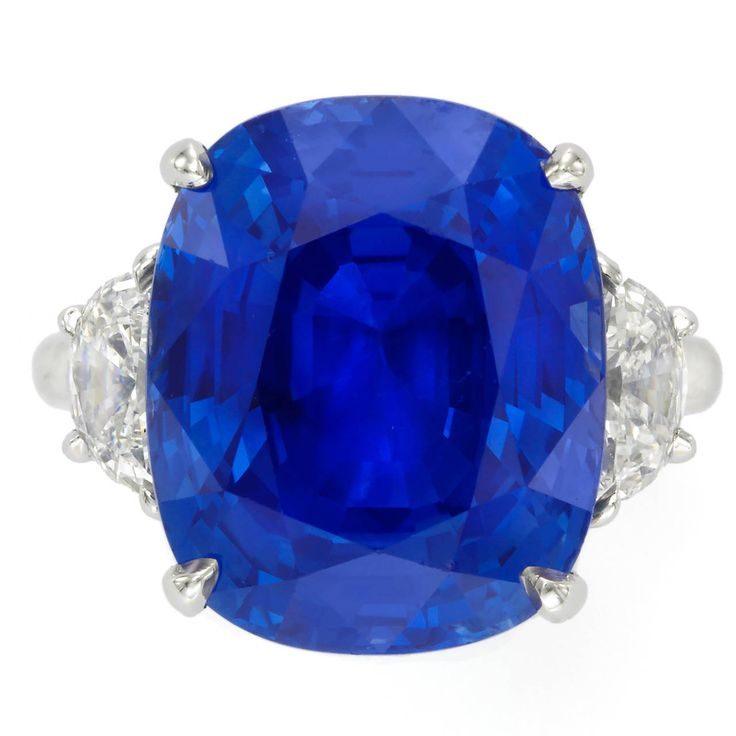 Sapphire Diamond Platinum Engagement Ring | From a unique collection of vintage engagement rings at https://www.1stdibs.com/jewelry/rings/engagement-rings/