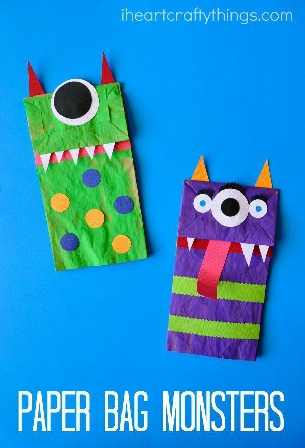 Paper Bag Monster Puppets Creative Stuff For Kids Halloween