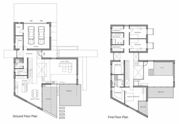 Moderne architektur bauplan grundriss aussicht floorplan pinterest