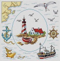 Maritim Sticken / cross stitch marine nautic  Gallery.ru / Фото #21 - Морская тема - elena-555