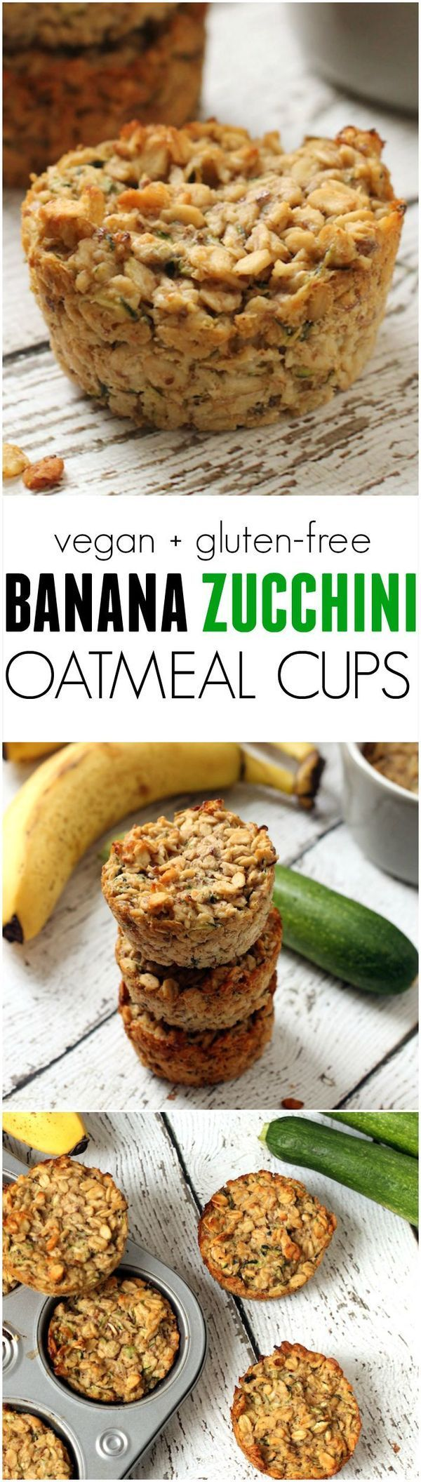 Banana Zucchini Oatmeal Cups --a portable, easy, healthy, breakfast on-the-go! #Vegan, #glutenfree, kid-friendly, no refined sugar. #healthykids