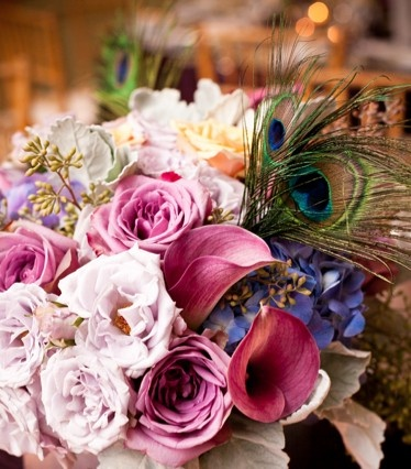 peacock in bouquet