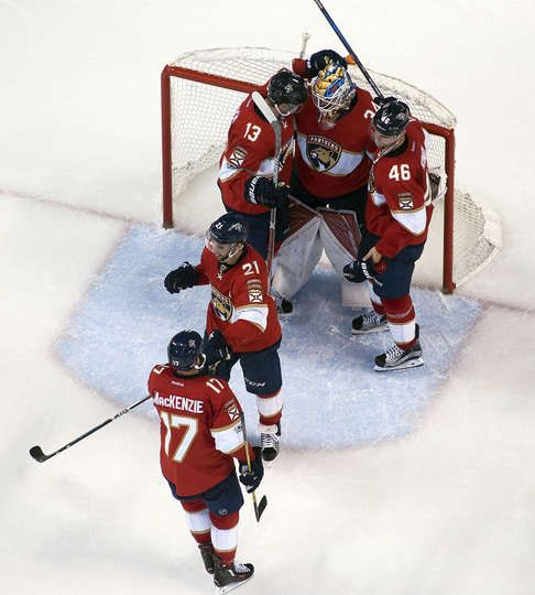 SUNRISE, FL - MARCH 14: The Florida Panthers celebrate their 7-2 win over the Toronto Maple Leafs at the BB&T Center on March 14, 2017 in Sunrise, Florida. (Photo by Eliot J. Schechter/NHLI via Getty Images)